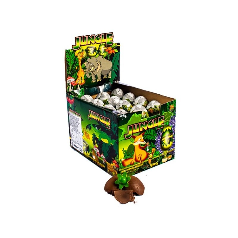 Huevo de Chocolate con Sorpresa Jungle x 24 u. Huevos de Chocolates con sorpresa